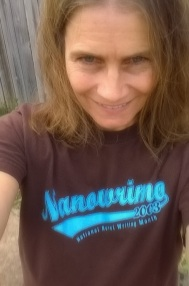 I've lost the completion certificate for Nanowrimo 2003, but I've still got the T-shirt (sorry so blurry)